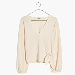 "MADEWELL ""Texture & Thread Crepe Wrap Top"" - Ivory"